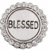 Silver Blessed Rhinestone 20mm Snap Charm For Ginger Snaps Jewelry