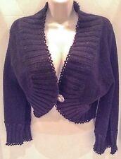 Nougat London Black Short Cardigan Sweater Metallic Fleck Design Size 3 New