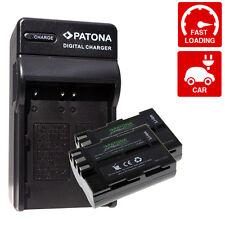 x2 Batterie + carica per nikon D50 D70 D70S 2000 mah premium enel3e en-el3e