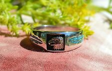 Navajo Sterling Silver Ring Eagle/Feather Sleeping Beauty Turquoise Chip Sz 15