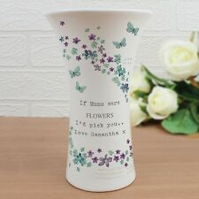 Personalised Forget Me Not Flower and Butterfly Waisted Vase