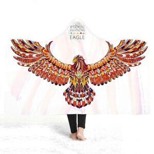 Novelty Gift Cool Ethnic Eagle Hawk Adult Kids Fleece Hooded Blanket Sofa Throw