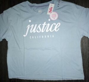 Girls justice short sleeve color changing boxy tee size 10 new lt blue