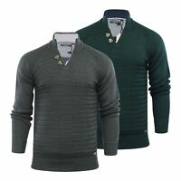 Brave Soul Mizrahi Mens Jumper 2 Button Funnel Neck Sweater