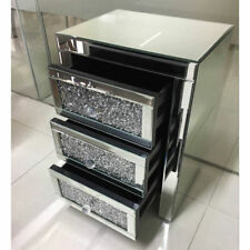 Mirrored Bedside Table Crystal Nightstand Cabinet 3drawer Mirror High Gross Unit