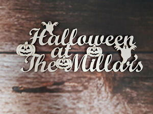 Personalised Wooden Halloween Sign Decoration Box Topper Craft Decor Plaque Gift