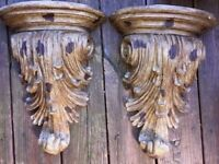 Vintage SCROLL WORK French Renaissance Art Nouveau Wall Shelf Carved SET of 2