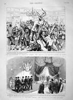 Original Old Antique Print 1894 Assassination President Carnot Lyons Funera 19th