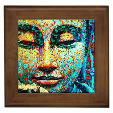 Buddha Mosaic Home Decor Ceramic Framed Tile / Entry Hall Table Plaque Wall Art