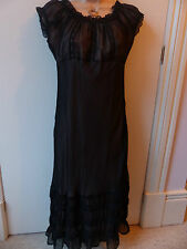 Beautiful Topshop size 12 black sheer dress with pale pink lining