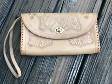 Vintage Tooled Leather Handbag Purse Brown Tan Bag Wristlet Clutch 70s 80s