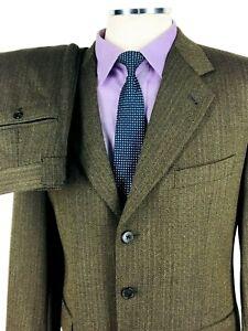 39R Joseph Abboud Soft Mens Vintage 3 Button Suit Moss Brown Pants 32 USA Mint!