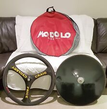 Zipp Tri-spoke Carbon Wheel + Solid Disc Wheel + Bag