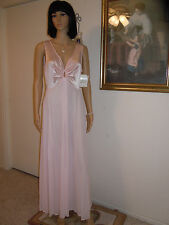 LUCIE ANN BEVERLY HILLS NWT vintage PINK KEYHOLE Polyester Nightgown sze L large
