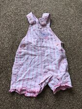 M&S pink silver checked floral dungarees with pockets baby girls 0-3 months