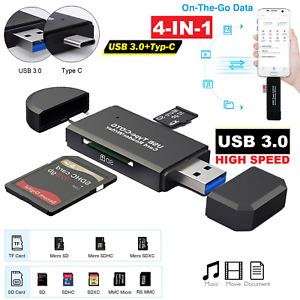 ✅USB 3.0 Type C Speicherkartenleser Micro SD Card Reader Kartenleser OTG Adapter