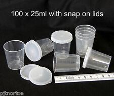25ml medicine measuring measure cups gallipots 100 with snap on lids cap caps