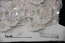 "2Yards ANTIQUE FRENCH LACE Re-embroidered 1 1/4"" Trim with Sequins -Emil Katz"