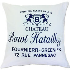 french chateau white and navy cushion covers