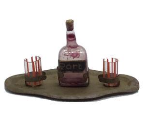 Antique Dollhouse Miniature Metal Tray Port Liquor Bottle Striped Blown Glasses