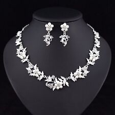 Floral Pearl Austrian Rhinestone Crystal Necklace Earrings Set Bridal Prom N51