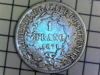 1 FRANC Cérès 1871 K - IIIe République Bordeaux F.216/3 - TTB