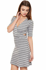 Polyester Stretch Stripes Dresses for Women