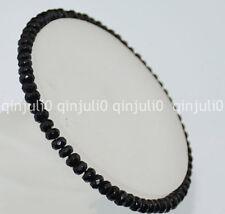 Faceted 2x4mm Black onyx Roundlle Gemstones Bracelet 7.5 inch J164