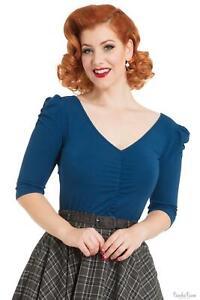 Voodoo Vixen Womens Blue Top Blouses Shirts Vintage Style Ladies Retro Tops