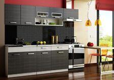 Küche 240cm Schränke, Küchenzeile schwarz - grau Neu&Schnell