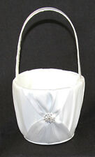White Sach Wedding flower girl petal basket ribbon handle diamante ring stud