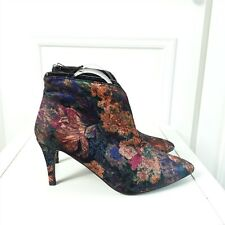 Multicoloured Floral Purple Tapestry Ankle Boots Heels Sz 7 / 40/ 41 NEW