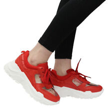 891f037fb532 Ladies Women Platform Chunky Perspex Lace Up Sneaker Running Trainers Shoes  Size