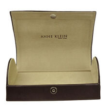 Anne Klein Authentic Sunglasses Eyeglasses Hard Magnetic Leather Case Brown
