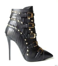 new $1795 Giuseppe ZANOTTI Yvette Jeti black pointy toe FRINGE ankle boots 37 7