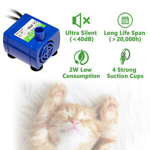 Pet Water Fountain Replacement Pump Works with LED for Ceramic Dog Cat Fountains