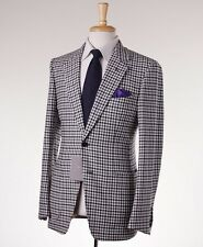 NWT $5700 TOM FORD 'Base V' Black-White Check Wool-Cashmere Suit Slim 38 R Eu48