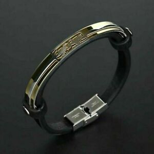 Stainless Steel Leather Scorpion Bracelet Cuff Bangle For Unisex's Men Jewelry