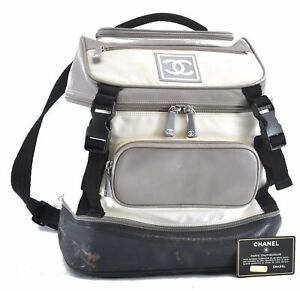 Authentic CHANEL Nylon CC Logo Sports Line Backpack White D4938