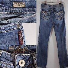 SILVER JEANS Suki Surplus Med Wash Bootcut Flap Pocket Distressed Womens sz 28