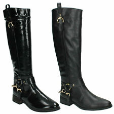 SALE WOMENS LADIES SPOT ON F50125 ZIP LOW HEEL RIDING LONG KNEE BIKER BOOTS SIZE