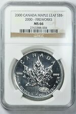 2000 Canada S$5 Silver Maple Leaf FIREWORKS PRIVY NGC MS66