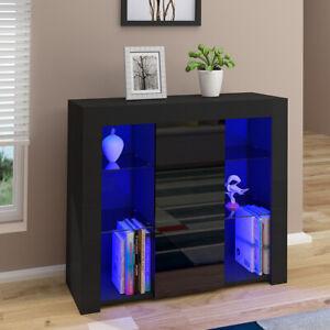 Modern Black 1 Door Cabinet Large Storage Buffet Cupboard Sideboard LED Lights