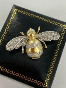 SUPERB HAND MADE 18CT GOLD DIAMOND BEE BROOCH