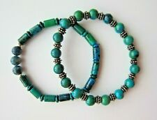 Turquoise Howlite & Chrysocolla Beaded Bracelets with Tibetan Silver Spacer.