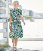 Damart Print Dress Turquiose Size UK 12 DH077 MM 20