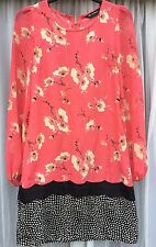 MISS SELFRIDGE Lovely Spring Shift Dress Floral Peachy Pink 4 EUR32 Petite Small
