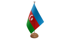 Azerbaijan Small Table Flag with Wooden Stand