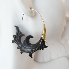 Waves Carved Black Tribal Earrings on .925 Sterling Silver Hook Bohemian Jewelry
