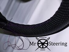 FOR RELIANT SCIMITAR PERFORATED LEATHER STEERING WHEEL COVER PURPLE DOUBLE STCH
